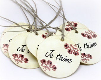 Valentine's Day Tags (Double Layered) - I Love You Hang Tags - French Tags - Je T'aime - Rose Labels - Wedding Wish Tree  (Set of 8)