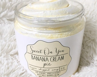 Banana Cream Sugar Whipped Soap, Sugar Scrub, Whipped Soap, Body Polish, Emulsified Scrub, Exfoliate, Bath, Moisturizer, Beauty, Skincare