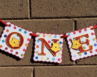 Winnie the Pooh. Birthday Banner. I am 1, ONE, photo prop, highchair banner.
