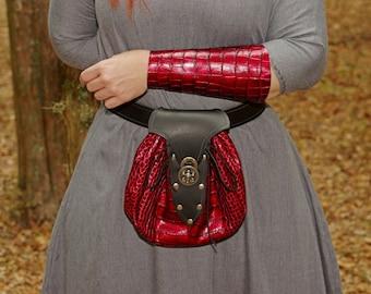 Large Renaissance Leather Belt Bag Red Scales