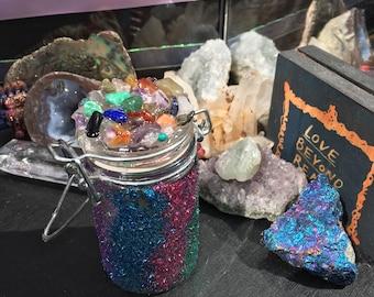 OOAK limited edition Small Rainbow Glitter Crystal Jar