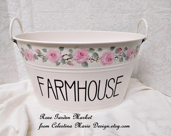 Farmhouse Oval Pail, Hand Painted with Cottage Blush Pink Roses, Storage, Display, Home Decor, Farmhouse Decor, ECS