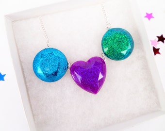 Princess Jewels Resin Faceted Heart Shaped Circle Round Charm Necklace Pendant Gems Statement Disney Cute Kawaii Kitsch Cosplay