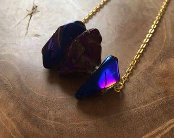 Midnight Magic gold - necklace with a beautiful rainbow titanium crystal quartz. Gemstones, rocks, minerals, boho, gypsy, minimal, metallic