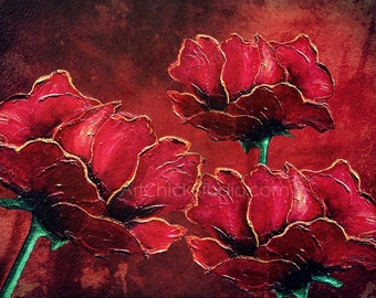 Red Poppies Giclee Print 10x13 Mixed Media