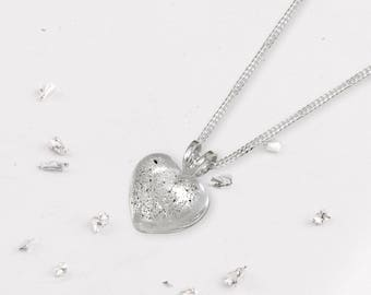 Memorial ashes/hair resin and silver small heart pendant encapsulated with ashes or hair