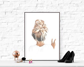 A3 large illustration print art hair style peace sign blonde girl home decor drawing teenage child gift