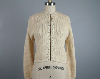Vintage 1950s Sweater 50s Ivory Wool Rhinestone Studded Sweater by Susan Thomas Size M