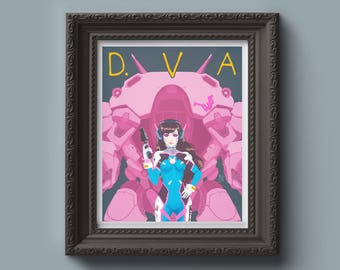 OVERWATCH D.VA Painting Art Print - Vintage Style Poster, Video Game Gift, Wall Art, Graphic Style, Gift for Him, Home Decor