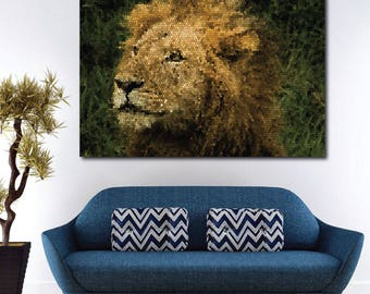 Lion Stained Glass Art on Canvas   Framed Art   Ready to Hang   Multiple Sizes   Large Wall Art   Canvas Art   Living Room Art   Office Art
