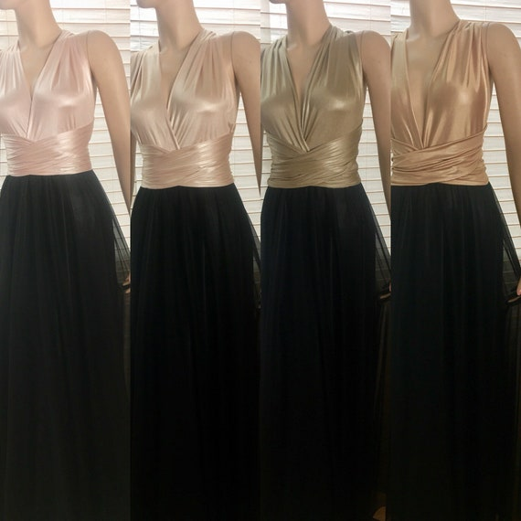 Chiffon Infinity Dress: Bridesmaid Dress Wedding Gown Chiffon Champagne Infinity Style