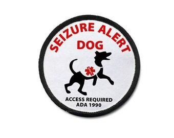 SEIZURE ALERT DOG Medical Alert Sew-on Patch (Choose Size & Rim Color)