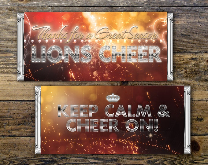 Personalized Cheerleading Candy Bar Wrapper – Printable Hershey's Bar Wrapper with your team colors & message – Cheer gifts, Team Gifts,