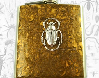 Steampunk Flask Antique Silver Egyptian Scarab Inlaid in Hand Painted Golden Bronze Enamel Insect Hip Flask with Personalized Option