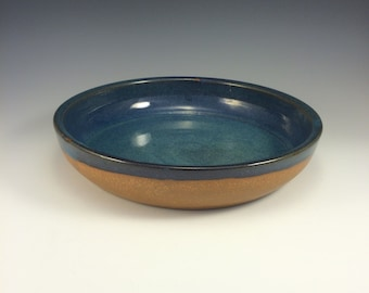 1 Pair of Pottery Pasta Bowl Blue and Earthtone Fruit Bowl Dinner Bowl Serving Bowl 2 selling as 1 Pair