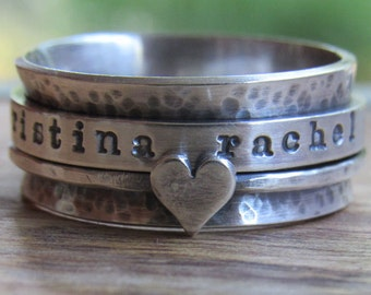 Personalized Spinner Ring, Personalized Ring, Spinner Ring, Rustic Ring, Worry Ring, Fidget Ring, Anxiety Ring, Sterling Silver