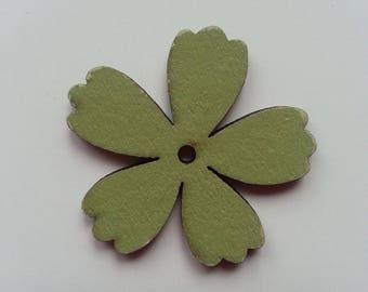 fleur  en bois verte  35mm