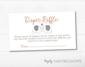 Elephant Baby Shower Diaper Raffle Insert: Baby Shower Diaper Raffle Cards in Elephant Theme **Instant Download**