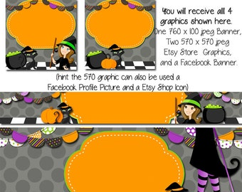 HalloweenEtsy Banner Set, DIY Etsy Graphics, Halloween Graphics, Facebook Fall Graphics, Seasonal Graphics, Witch Cat Etsy Set, DIY Grpahics