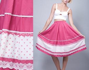 pink skirt, cotton skirt, square dance skirt, vintage 70s fuschia prairie polka dot lace ONE SIZE - S M L Small Medium Large