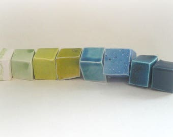 """8 """"cubic"""" beads in ceramic make-hand 7: blue&green harmony, 19 mm"""
