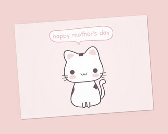 Printable Mother's day card for cat lover, cat mom, cat lover, funny mother's day card from cat, PDF DIY greeting card, happy Mother's day