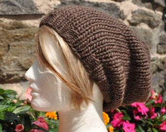 Taupe - Brown Knit Hat - Wool Ribbed Knit Slouchy Hat - Unisex Hat - Wool Hat - Brown Hat - Slouch Hat - add Pom Pom