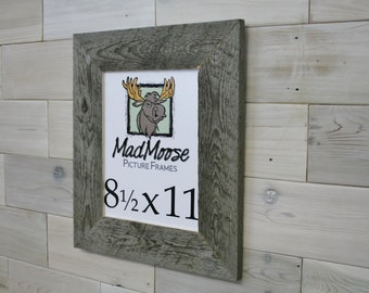 "8.5x11 Barn Wood [Thin x 3""] Picture Frame... (aka Reclaimed Wood Wall Hanging, Rustic Weathered Wood Frame, Gray Wood Wall Hanging)"