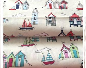 Beach Hut 100% Cotton Fabric Wide 140cm fabric Fat Quarter Metre Seaside Nautical Sailing Boats Fabric Free UK Delivery
