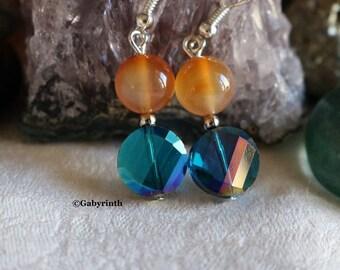 Carnelian glass Cobalt Blue earrings
