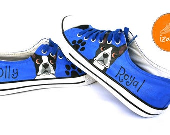 Boston Terrier Shoes, Sneakers Hand Painted, dog shoes, boston terrier canvas shoes, dogs, gift for dog owners, canvas shoes, custom shoes