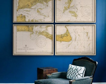 """Nantucket Sound map 1933, nautical chart of Nantucket & Martha's Vineyard, 5 sizes up to 80x60"""" in 1 or 4 parts - Limited Edition of 100"""