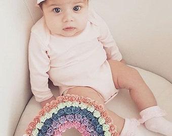Custom made Floral rainbow// Babyshower gift// Christening gift// nursery decor