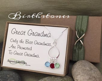 Gifts for Great Grandma Necklace - Mother's Day Gifts for Great Grandma Sterling Silver Birthstone Necklace for Great Grandma Birthday Gift