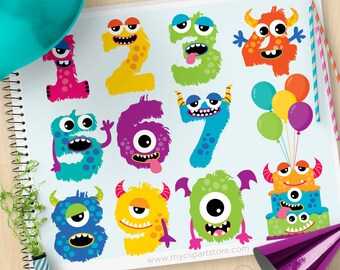 Monster numbers, cute monster clipart, Alphabet, Monster party, birthday Cake, balloons, commercial use, Vector Clip Art, SVG Cut files