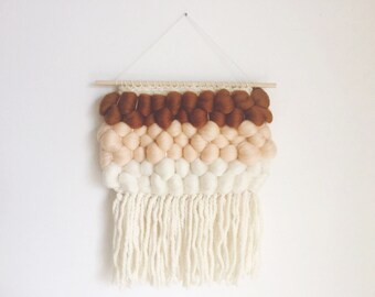 cinnamon and sugar. a soft dessert-inspired wool roving tapestry weaving