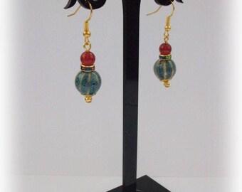 Ethnic Earrings with Handmade Ceramic Beads, Small Earrings, Red and Blue Earrings, Ceramic Jewelry