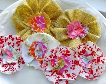 Flower Embellishments, Fabric Flowers, Fabric Embellishments, Scrapbook Flowers,  Flower Appliques, Fabric Scrap flowers, Set of 6 - No. 795