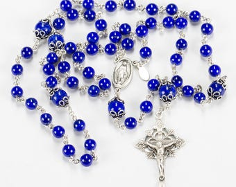 Blue Lapis Lazuli Catholic Rosary - Handmade Gift, Sterling Silver, Miraculous Center and Ornate Crucifix - Custom, Heirloom Womens Rosaries