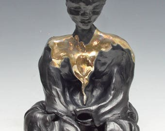Black and Gold Abstract Buddha Seated in Meditation in Raku Ceramics