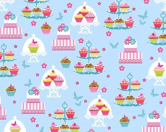 Cupcakes on Trays in Blue from the Cupcake Cafe Collection by Laura Stone for Studio e Fabrics