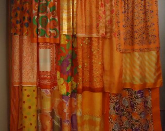 Shades of Orange Gypsy Boho Curtains - 63""