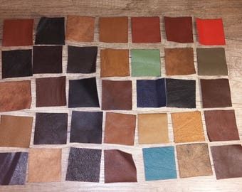 100% Real Genuine Leather Small Offcuts Remnants Various Colours Multicolored 10 or 15 Pieces