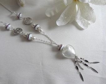 Woman/women Pearl fancy murano/necklace heart necklace-made hand/murano/necklace pendant/white heart