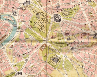 Vintage Italian Tourism Map of Rome. 14 x 18. Digital Paper Download. Scrapbooking Supplies. Instant Download. Pattern. High Resolution.