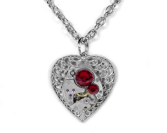 Steampunk Jewelry Necklace Watch Silver Filigree HEART Red Crystal Anniversary Bridesmaids, Girlfriend Mothers Day Gift - Steampunk Boutique