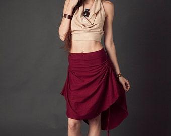 Shaylee Skirt, High Low Skirt, Summer Skirt, Scrunch Skirt, Organic Clothing, Hemp Clothing, Festival Wear, Mid Length Skirt