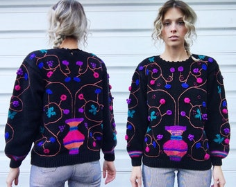 Vintage 80s Needlework Black + Multicolor 3 Dimensional Knit Flower Pot Design Rainbow Cuffs Hand Knitted Pullover Sweater M