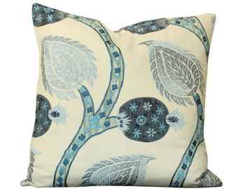 Schumacher Nurata Embroidery Pillow Cover in Blue