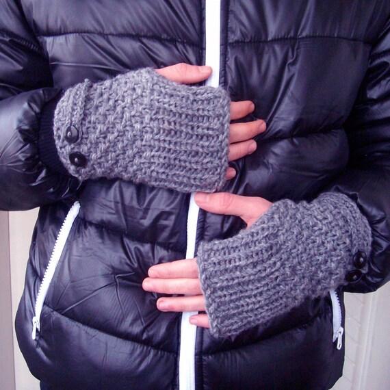 Guantes sin dedos para hombre tejer mitones guantes